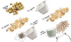 overnight oat de banana -  Coloque no fundo do pote 2 colheres (sopa) de aveia em flocos umedecidas com 6 colheres (sopa) de leite desnatado ou suco de laranja. Junte ½ banana picada por cima, distribua ½ pote de iogurte grego light misturado com 1 colher (sopa) de chia. Distribua a outra metade da banana picada, cubra com o restante do iogurte grego e, para finalizar, polvilhe 1 colher (sopa) de granola light.