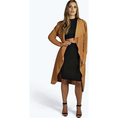 Boohoo Plus Orla Belted Shawl Collar Coat ($28) ❤ liked on Polyvore featuring outerwear, coats, camel, duster coats, bomber coats, shawl collar wrap coat, mac coat and camel coat