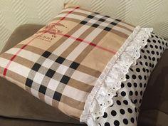 DIY pillow, designer, ruffle and rhinestones
