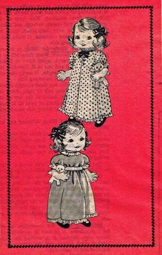 Old Stuffed Doll PATTERN 7420 with her Teddy Bear by BlondiesSpot