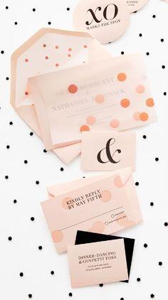 Invitaciones de boda con polka dots