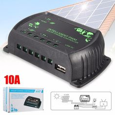 10A Auto PWM Solar Panel Battery Regulator Charge Controller USB Charger 12V