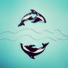 So happy to add another dolphin design to my collection, this time I chose the stunning and rare Hourglass Dolphin.  This black and white beauty is a rare gem of the ocean and I would feel incredibly lucky to see one in the flesh.  The glossy charm is 5cm across and hangs from a 19 inch faux silver chain.  It makes a great statement piece or goes well with other sea jewellery, the PERFECT gift for any dolphin - lover or marine biology student.