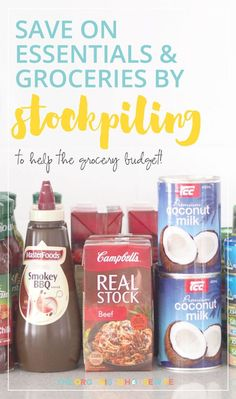 Combined with meal planning, stockpiling or buying foods in bulk significantly reduce your grocery bill each year. Healthy Groceries, Save Money On Groceries, Ways To Save Money, Money Saving Tips, Organised Housewife, Meal Planning, Budgeting, Essentials, Personal Care