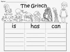 Free: The Grinch Organizers...Write 3 sentences about The Grinch using plain lines (good for teachers who use Handwriting Without Tears).  FREEBIE For A Teacher From A Teacher!. Enjoy! fairytalesandfictionby2.blogspot.com