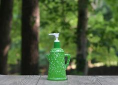 Vintage Green and White Kitchen Soap Dispenser by theretrobeehive