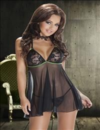 Avanua - Safire - Sexy Chemise Thong Set in Black