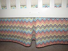 Custom Made Bermuda Zig Zag Chevron Crib Skirt. $60.00, via Etsy.