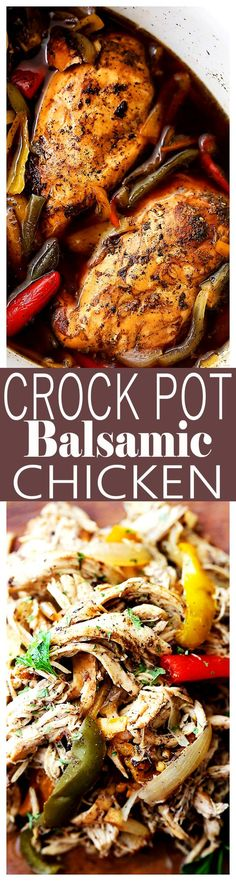 Crock Pot Balsamic Chicken – Light, easy, and perfect for weeknight dinners, or even game days, this flavorful chicken dish is cooked in the crock pot to a tender perfection with vegetables and balsamic vinegar.