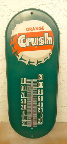 NICE!!! VINTAGE ORIGINAL ORANGE CRUSH SODA THERMOMETER METAL SIGN