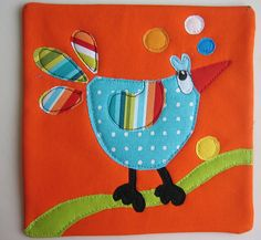 Bird Mug Rug #6 - a series of mug rugs. Visuals only but they sure are cute.