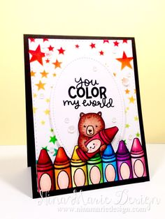 Lawn Fawn - Color My World, Party Animal, Stitched Oval Stackables _ fabulous card by Nina-Marie at Nina-Marie Design