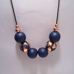 awesome Navy Blue & Copper Foil Polymer Clay Necklace by CKWJewellery on Etsy www. Diy Jewelry, Beaded Jewelry, Jewelry Design, Jewellery, Polymer Clay Projects, Polymer Clay Creations, Polymer Clay Necklace, Polymer Clay Earrings, Diy Collier