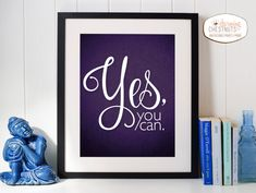YES YOU CAN, Printable wall art, purple glitter, Inspirational Quote poster, Purple and black, diy decor, Instant download
