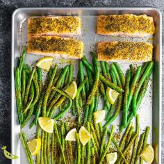 Appetizer Recipes Discover Lemon Pepper Salmon Sheet Pan Lemon pepper salmon sheet pan with green beans asparagus and lemon dill yogurt is ready in under 25 minutes and works for meal prep! Healthy Meals For One, Healthy Meal Prep, Easy Healthy Recipes, Healthy Snacks, Dinner Healthy, Eating Healthy, Meal Prep Low Carb, Clean Eating, Stay Healthy