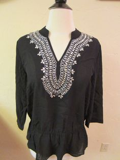 Chico's Wm's S (Chico's Sz 1)Embellished Accent Katrina Top 3/4 Slv Blk $109 NWT #Chicos #Blousewithelasticwaist #Multi