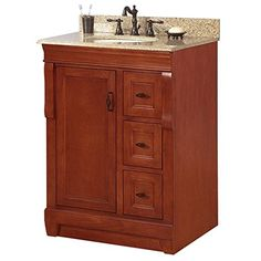 $629 Foremost NACABG2522 Naples 25 in. W x 22 in. H Vanity with Granite Top in Beige and Single Bowl in White, Warm Cinnamon Foremost