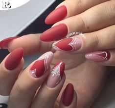 Over 40 nail art designs you can not give up – Reny styles - Diy Nail Designs Edgy Nails, Trendy Nails, Pink Nails, Valentine's Day Nail Designs, Best Nail Art Designs, Red Nail Art, Blue Nail, Valentine Nail Art, Nagel Gel