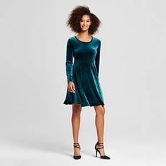 Women's Velvet Scoop Neck Fit & Flare Dress - Alison Andrews : Target - Size medium