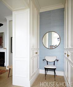 The End Walls Are Papered In Pale Blue Grasscloth To Give The Space An