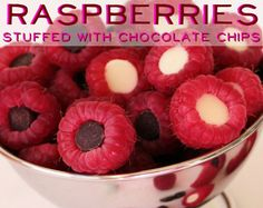 "Raspberries stuffed w/chocolate & white chocolate chips!!! YUMMMMMMY! via ""24 Incredibly Simple Ways To Make Your Food Taste Awesome"" #fun #food #treat"