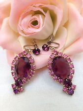 Early VTG JULIANA Pink and Purple Rhinestone Dangle earrings ABSOLUTELY AMAZING!