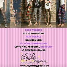 70666a49124e3 No quotas no monthly fees no minimums work from you phone. Work from home!  25% personal discount! Mylalaleggings.com/#ketekat. Chrystal · My Lala  Leggings