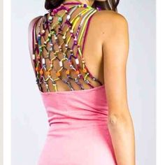 Meghan fabulous open beaded back party dress Meghan fabulous kingston dress, deep v neck with open back beading. Nwt. Knit body, multicolor confetti color dotted. Size 4 Meghan fabulous Dresses
