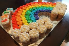 A Rainbow Mini-Cupcake Cake! - La Hoot Bakery A Rainbow Mini-Cupcake Cake! Trolls Birthday Party, Rainbow Birthday Party, Unicorn Birthday Parties, Girl Birthday, Class Birthday Treats, Rainbow Birthday Decorations, My Little Pony Birthday Party, 5th Birthday Party Ideas, Troll Party