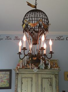 I would love to float away in this one! hot air balloon lamp