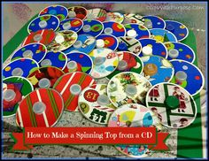 How to make a spinning top from cds, marbles and bottle caps