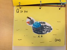Q is for Quail - Use thumb to make head, add eye, beak and small feather to top of head.