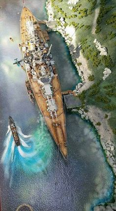 Another model - 15 in battleship Tirpitz portrayed in one of the Norwegian anchorages where she spent most of her war till sunk by RAF bombing in November Military Weapons, Military Art, Military History, Military Aircraft, Cruisers, Scale Model Ships, Scale Models, Model Warships, Naval History