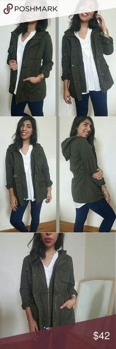 |new | SAFARI DARK OLIVE HOODED UTILITY JACKET I love a great jacket! This one features a double zipper closure and snap buttons for extra warmth. Has snap buttons at sleeve cuffs. Drawstring ties to bring in waistline. Front functional zippered pockets (which to me is a super plus since I'm always losing things lol).  And of course, comes with a hood. Lightweight. Great for Fall/Spring seasons! Fits TTS.   *WHITE CROCHET TOP ALSO AVAILABLE IN CLOSET   Sizes available: S M l Modeling size…