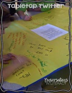 Tabletop Twitter- Great way for students to interact with the text in writing!