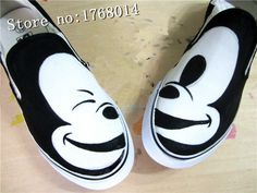 Custom Mickey shoes hand painted shoes slip-on canvas shoes