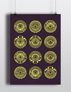 LE Geometric Amethyst and Yellow Screen Print One Of A Kind