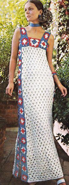 TRICO y CROCHET-madona-mía: Vestidos a Crochet  Modelos.Vintage Sin patrón par...
