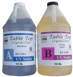Epoxy Table Top Resin, 1:1, 1 Gallon Kit, Crystal Clear, Self Leveling, UV Resistant, Parts A & B Included