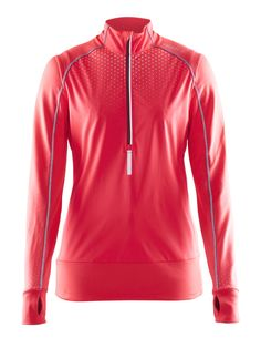 Craft Women's Brilliant Thermal Wind Run Top - 1903601 (Crush - XS) Red Leather, Leather Jacket, Sports Shops, Athletic, Running, Zip, Jackets, Shopping, Fashion