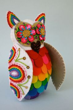 Rainbow Owl - Mexican Folk Art -  Embroidered Plush