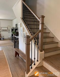 Double Knuckle Iron Baluster - Cheap Stair Parts - Double Knuckle Iron Baluster Iron Baluster House of Forgings Iron Staircase Railing, House Staircase, Wrought Iron Stairs, Iron Balusters, Staircase Remodel, Rustic Staircase, Staircases, Staircase With Landing, Rod Iron Railing