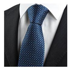 USOLDFLY Man's Classic Dot Tie Nevy Blue Plaid Jacquard Woven Necktie