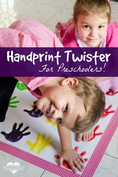 A fun way t o teach your preschoolers colors -- handprint twister! This is a craft and game in ONE! Lots of fun and creative twist to this preschool, diy version! #games #diy #preschool #kids