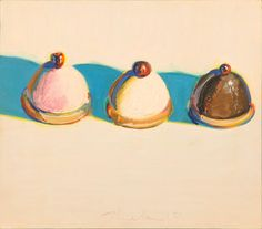 Three Treats, c. oil on panel (promised gift of Betty Jean and Wayne Thiebaud)/UC Davis photo by Gregory Urquiaga Colorful Paintings, Beautiful Paintings, Modern Paintings, Contemporary Artwork, Wayne Thiebaud Paintings, Psychedelic Drawings, Asian Art Museum, Principles Of Art, Albrecht Durer