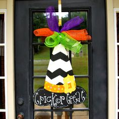 Witch Hat Door Hanger Halloween Door Hanger by LooLeighsCharm, $45.00