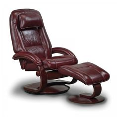 "Oslo Collection Recliner with Ottoman (Merlot Leather) (45""H x 31""W x 30""D). The Oslo Collection Merlot Recliner with Ottoman features a high quality Norwegian design, consisting of selective hardwoods, bent arms and a wrap around seat and back cushion with top grain leather upholstery.  The slim design of this reclining chair allows for the same comfort provided by bulkier recliners, while taking up much less floor space.  These leather armchairs feature 1"" MX-2 memory foam over the top of…"