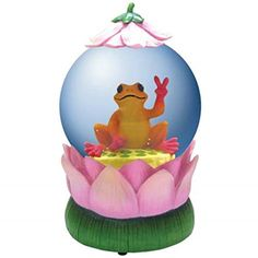 WL SSWL18828 Lotus Flower Water Globe with Orange  Pink Peace Frog Figurine 85mm * Be sure to check out this awesome product.