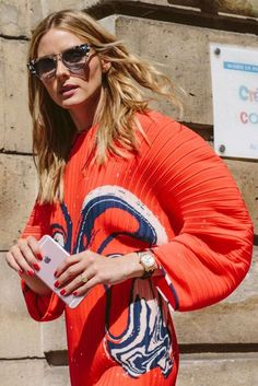 Olivia Palermo wearing Solace London Singer Pleated Printed Crepe Dress