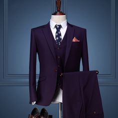 Aliexpress.com : Buy Cajerin men clothing Coat Pant Designs Wedding Suits For Men Slim Fit Suits Mens Groom Purple Tuxedos Single Button 3 Pcs Set from Reliable suit union suppliers on QiekeStyle Store